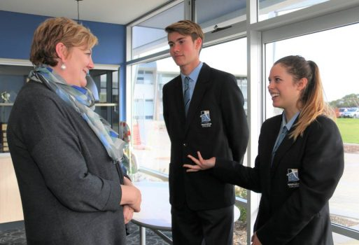 Commissioner talking to students