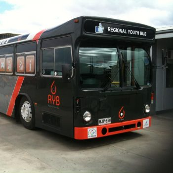 black and red bus exterior