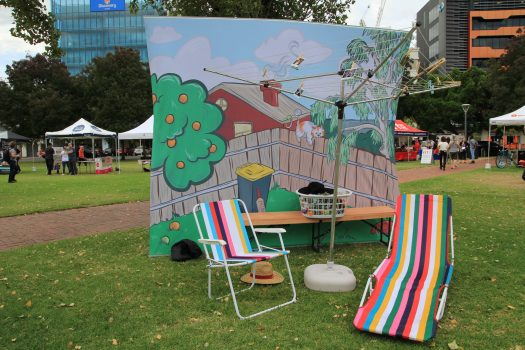 cartoon wall with deck chairs