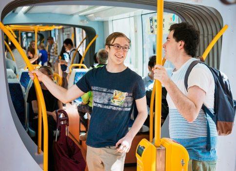 Man on tram