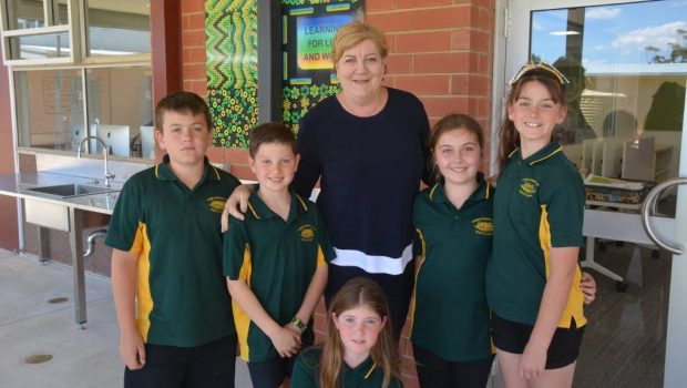 commissioner helen connolly with school kids