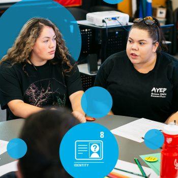 two girls talking in class