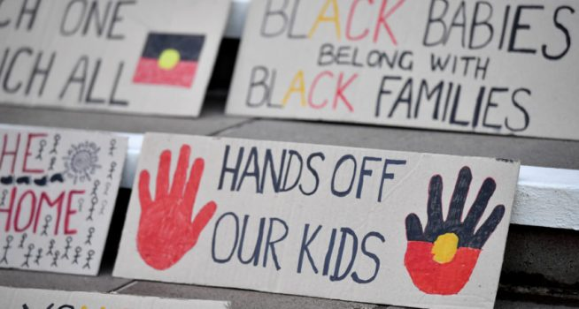 protest signs with indigenous flag