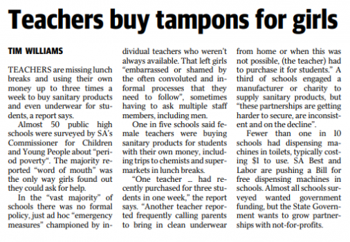 newspaper clipping of tampon article