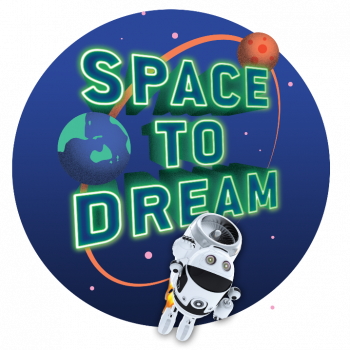 space to dream logo with astronaut