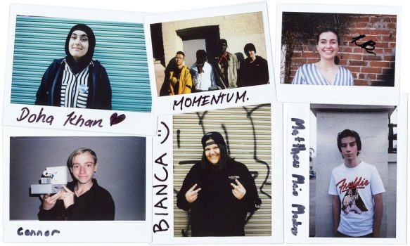 collage of polaroid's of young people