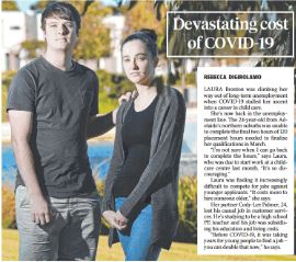 newspaper article of job risk with two people