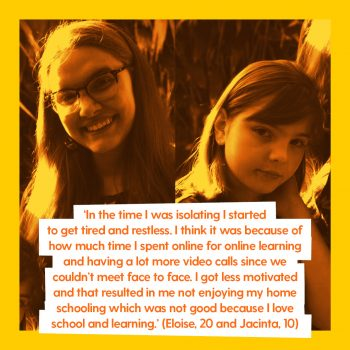 two girls with quote about covid