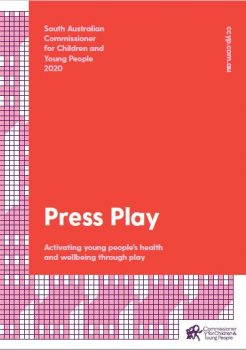 red and pink press play report cover